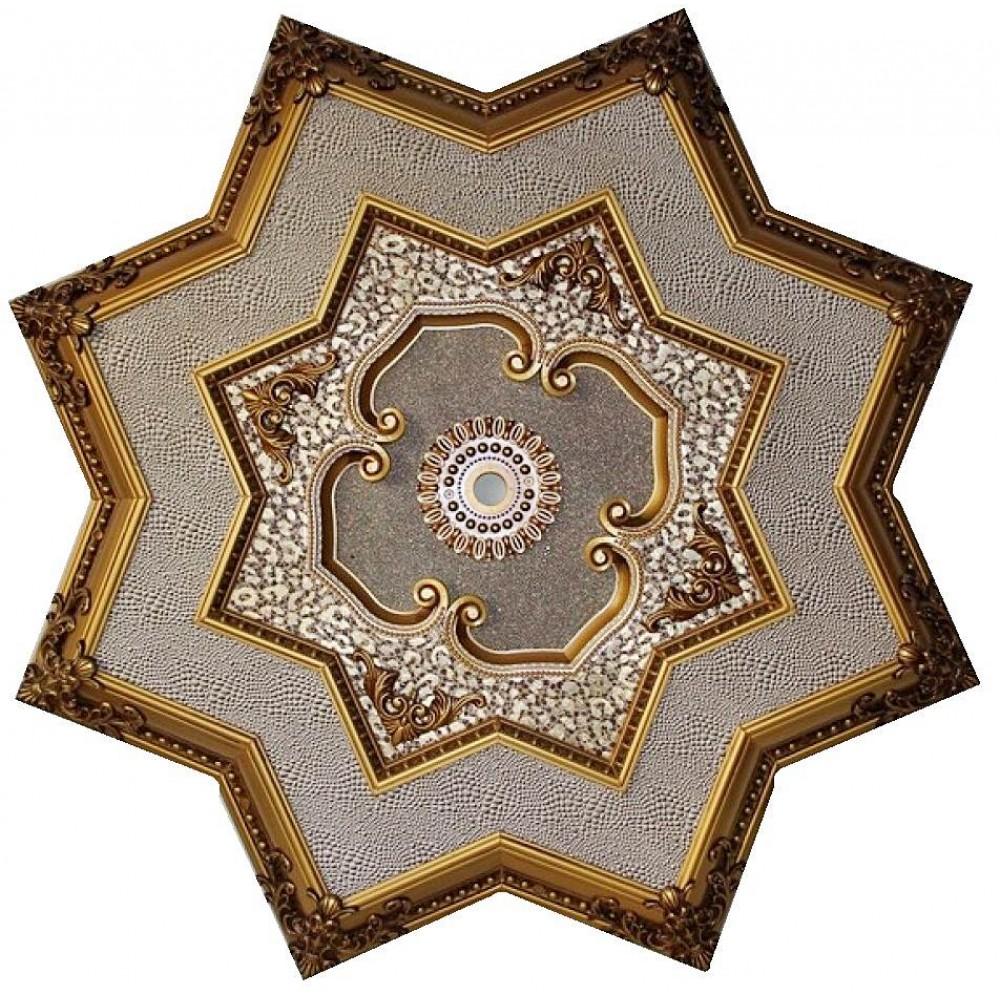 130 Cm Yildiz Osmanli Saray Tavan Sf-002 Avize Gobegi Patina-Eskitme Altin Varakli 3D