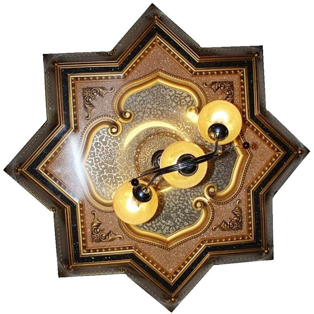 130 Cm Yildiz Osmanli Saray Tavan Sf-022 Avize Gobegi Patina-Eskitme Altin Varakli 3D