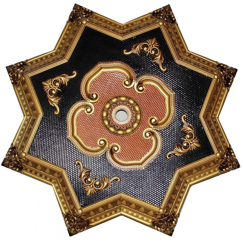 90 cm Yildiz Osmanli Saray Tavan Sf-175 Avize Gobegi Patina-Eskitme Altin Varakli 3D