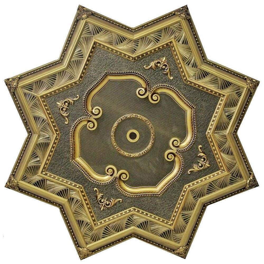 150 Cm Yildiz Osmanli Saray Tavan Sf-295 Avize Gobegi Patina-Eskitme Altin Varakli 3D