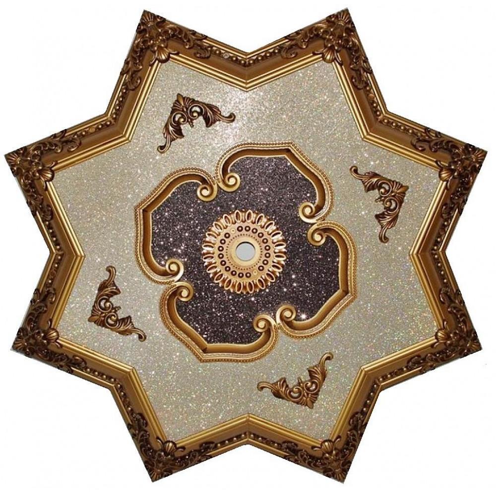 110 Cm Yildiz Osmanli Saray Tavan Sf-307 Avize Gobegi Patina-Eskitme Altin Varakli 3D