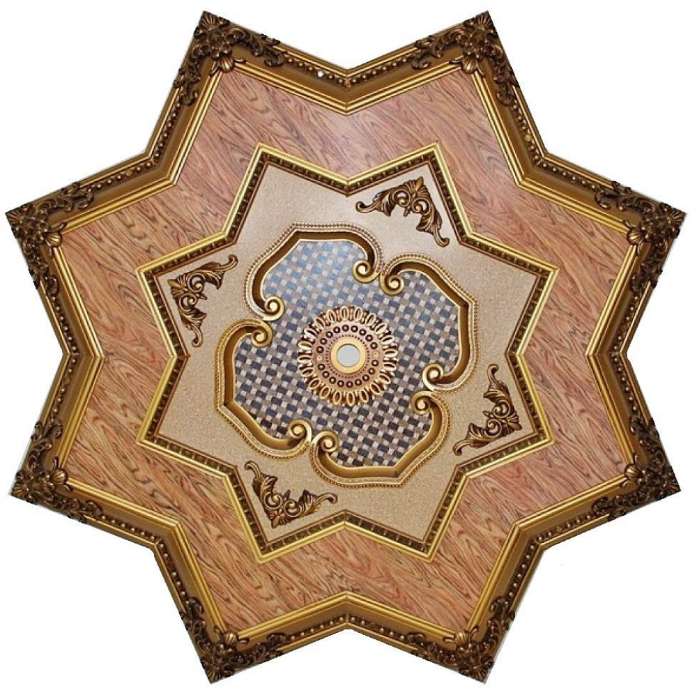 130 Cm Yildiz Osmanli Saray Tavan Sf-309 Avize Gobegi Patina-Eskitme Altin Varakli 3D