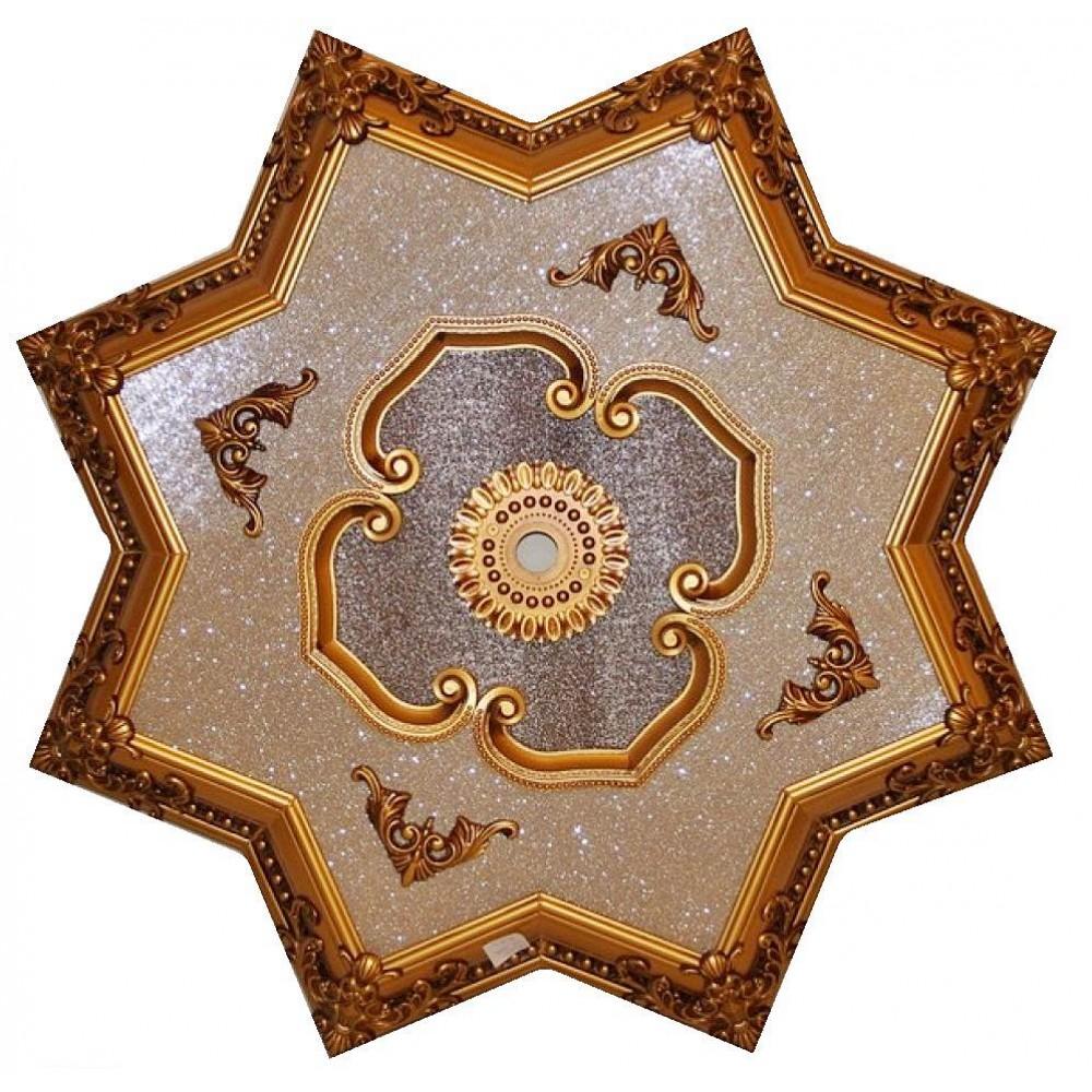 110 Cm Yildiz Osmanli Saray Tavan Sf-335 Avize Gobegi Patina-Eskitme Altin Varakli 3D