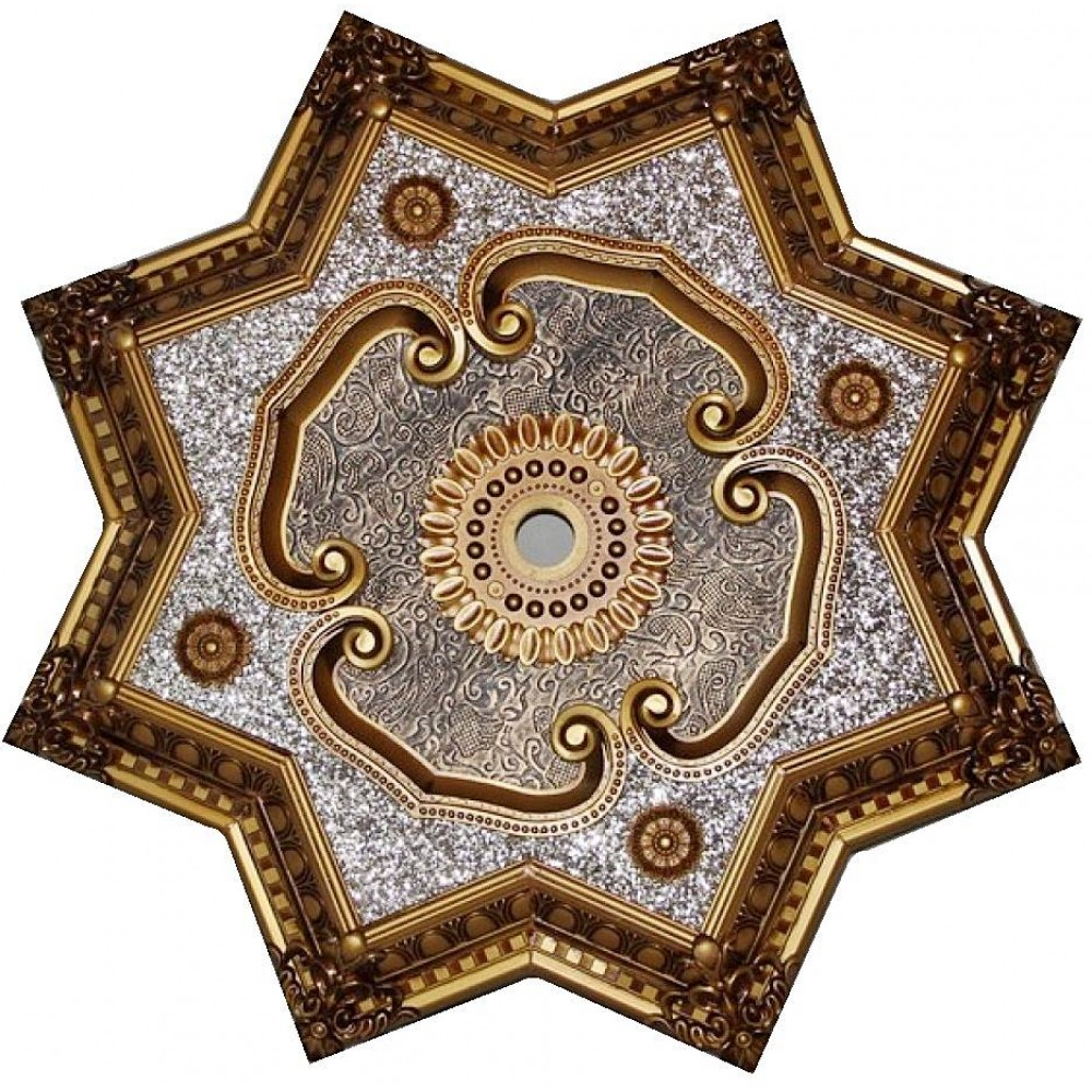 80 Cm Yildiz Osmanli Saray Tavan Sf-345 Avize Gobegi Patina-Eskitme Altin Varakli 3D