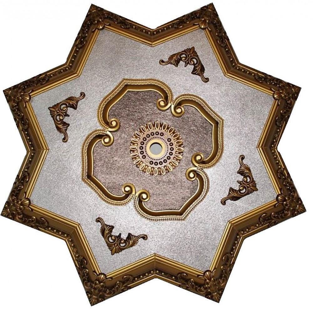 110 Cm Yildiz Osmanli Saray Tavan Sf-371 Avize Gobegi Patina-Eskitme Altin Varakli 3D