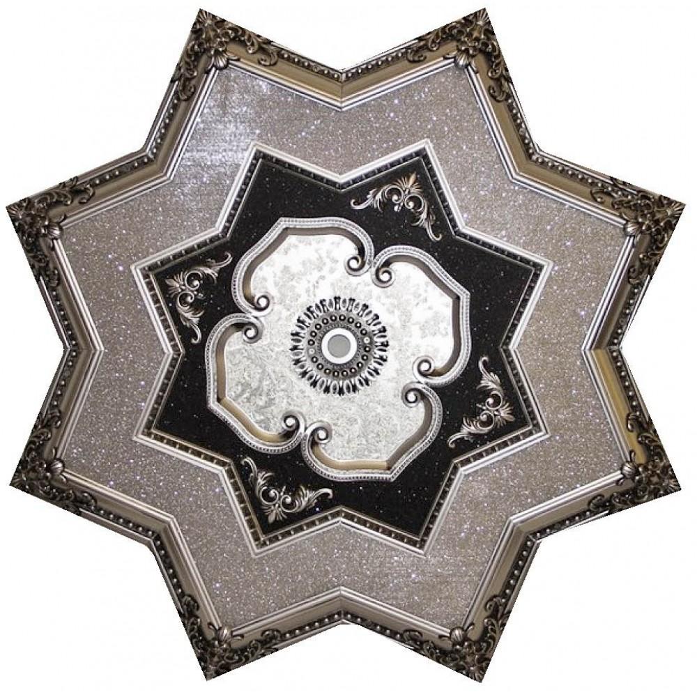 130 Cm Yildiz Osmanli Saray Tavan Sfa-301 Avize Gobegi Patina-Eskitme Gumus Varakli 3D