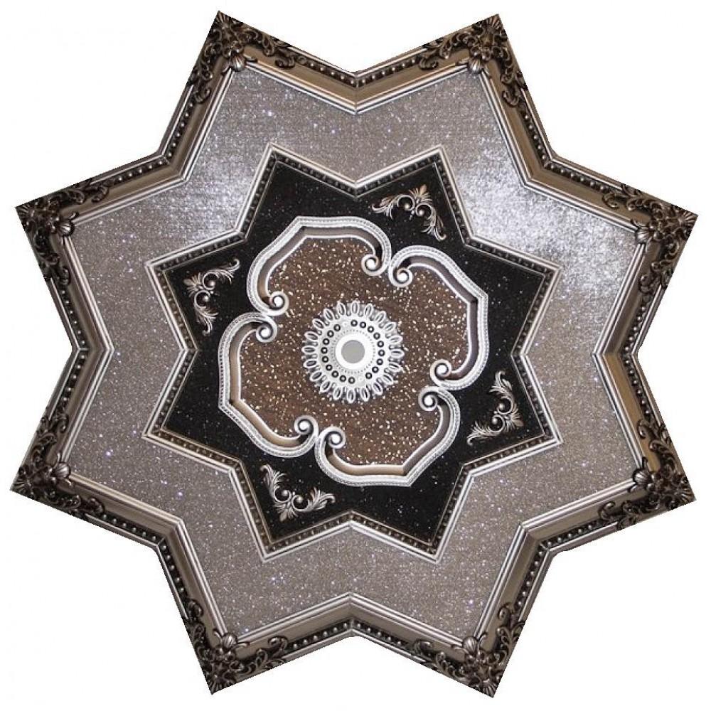 130 Cm Yildiz Osmanli Saray Tavan Sfa-301-A Avize Gobegi Patina-Eskitme Gumus Varakli 3D