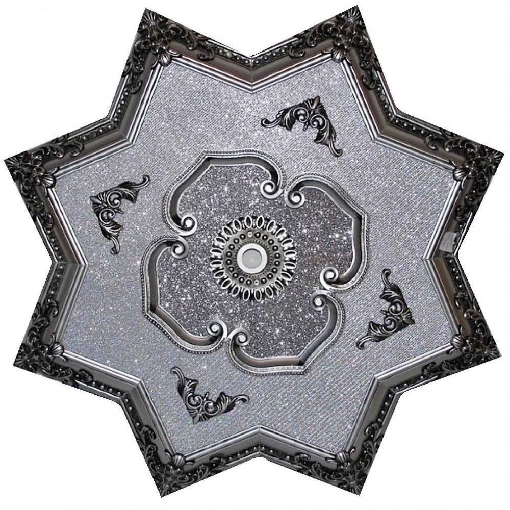 110 Cm Yildiz Osmanli Saray Tavan Sfa-390 Avize Gobegi Patina-Eskitme Gumus Varakli 3D