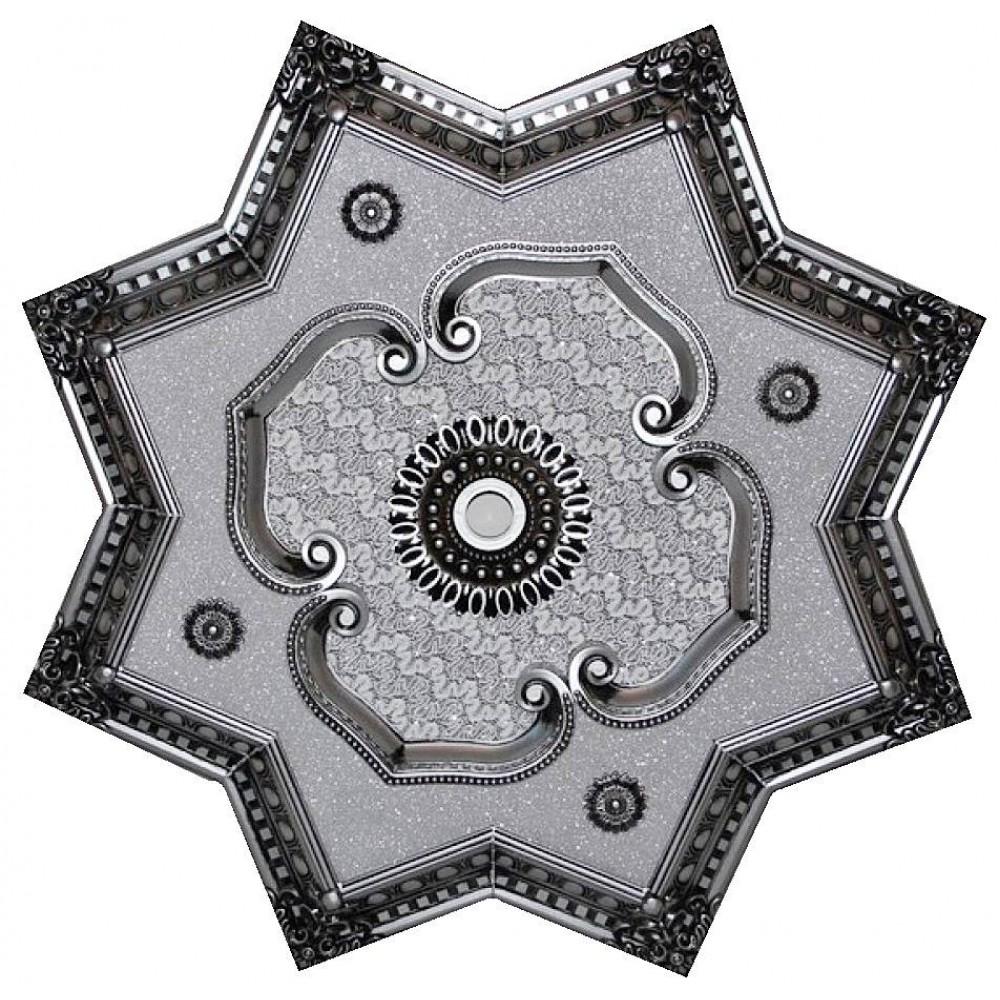 90 Cm Yildiz Osmanli Saray Tavan Sfa-417 Avize Gobegi Patina-Eskitme Gumus Varakli 3D