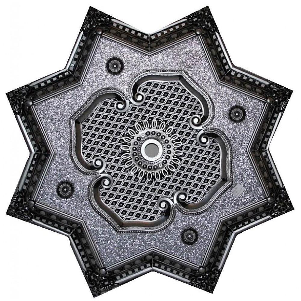 80 Cm Yildiz Osmanli Saray Tavan Sfa-418 Avize Gobegi Patina-Eskitme Gumus Varakli 3D