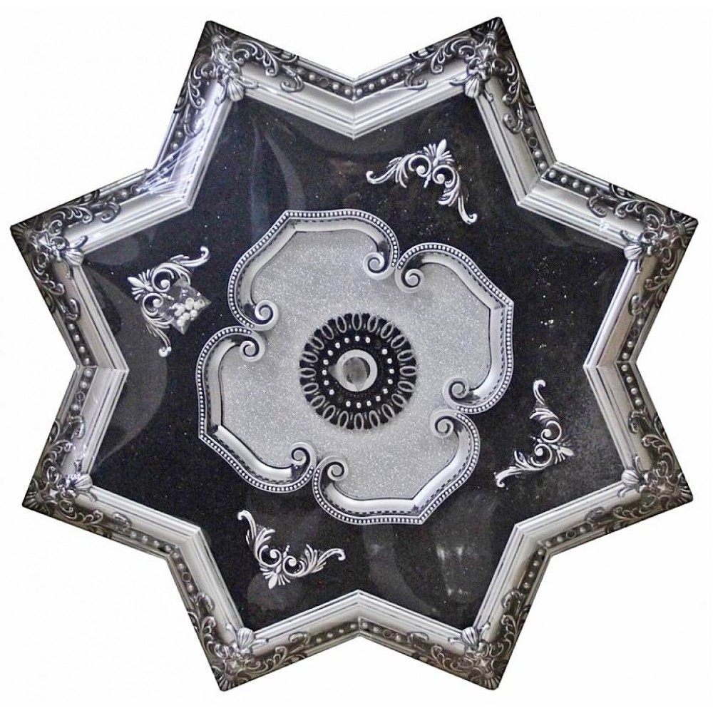 110 Cm Yildiz Osmanli Saray Tavan Sfa-442  Avize Gobegi Patina-Eskitme Gumus Varakli 3D