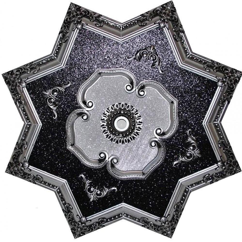 110 Cm Yildiz Osmanli Saray Tavan Sfa-443 Avize Gobegi Patina-Eskitme Gumus Varakli 3D