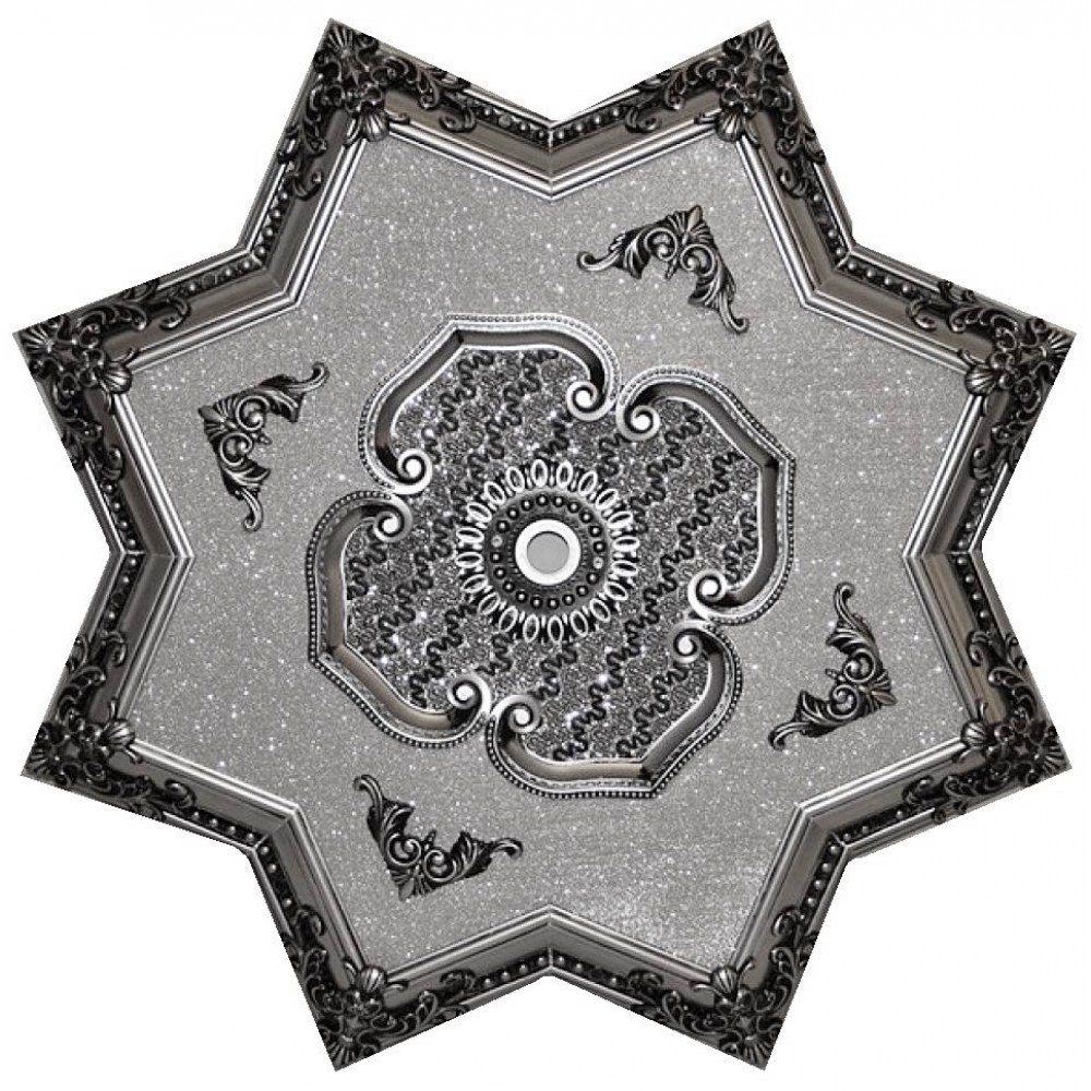 110 Cm Yildiz Osmanli Saray Tavan Sfa-444 Avize Gobegi Patina-Eskitme Gumus Varakli 3D