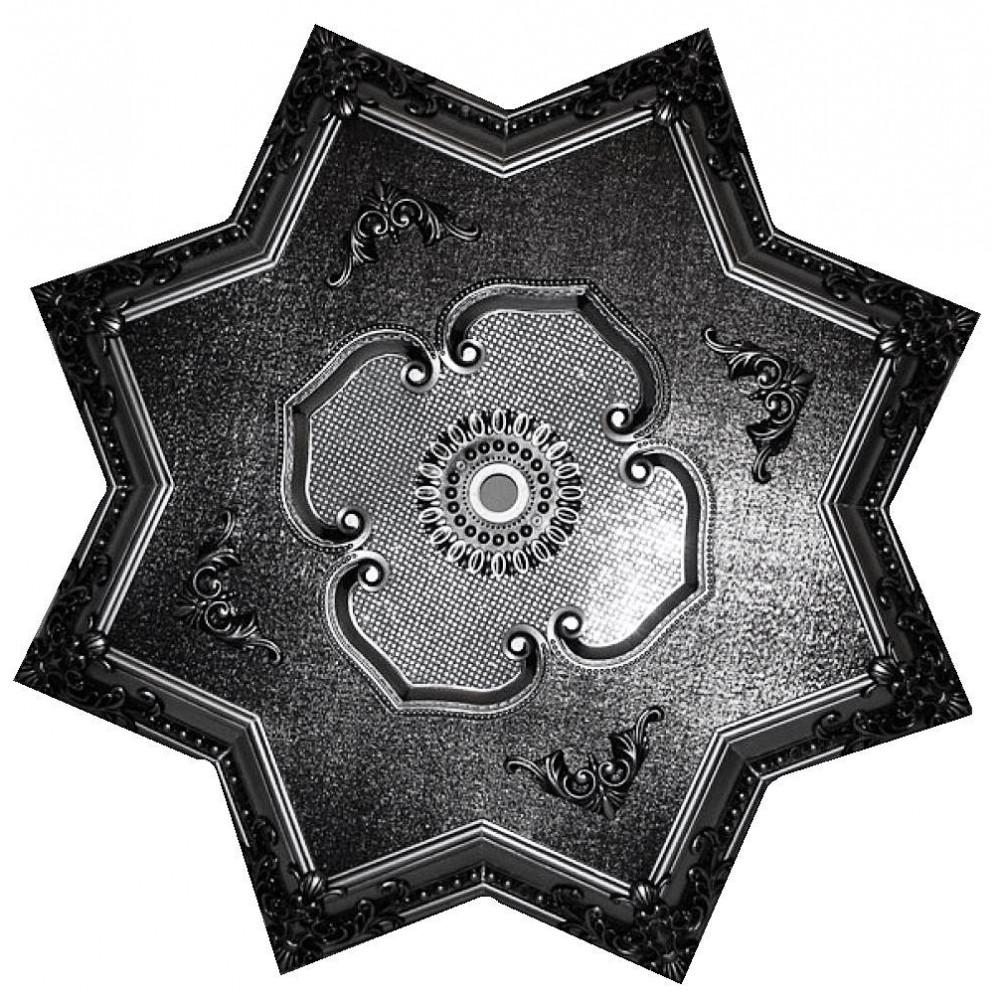 110 Cm Yildiz Osmanli Saray Tavan Sfa-445 Avize Gobegi Patina-Eskitme Gumus Varakli 3D