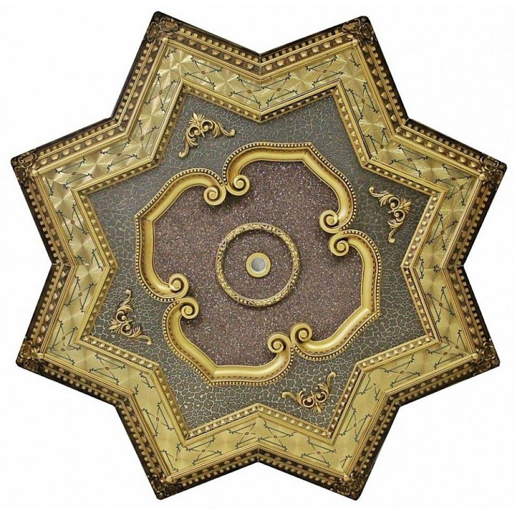 150 Cm Yildiz Osmanli Saray Tavan Sf-147 Avize Gobegi Patina-Eskitme Altin Varakli 3D