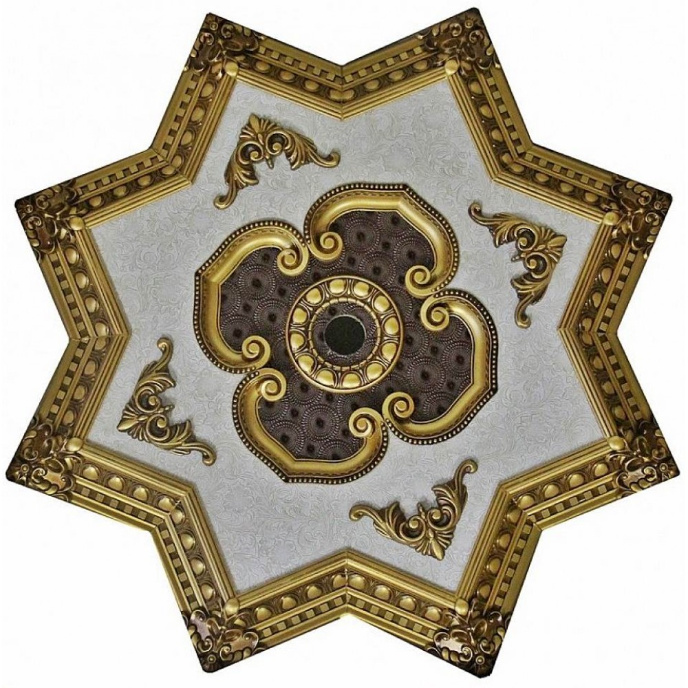 90 cm Yildiz Osmanli Saray Tavan Sf-166 Avize Gobegi Patina-Eskitme Altin Varakli 3D